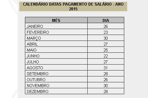 Calendário de pagamento 2015 - Prefeitura Municipal de Uberlândia
